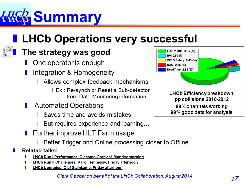 Clara Gaspar on behalf of the LHCb Collaboration, August 2014 Summary ❚ LHCb Operations very successful ❚ The strategy was good ❙ One operator is enough ❙ Integration & Homogeneity ❘ Allows complex feedback mechanisms 〡 Ex.: Re-synch or Reset a Sub-detector from Data Monitoring information ❙ Automated Operations ❘ Saves time and avoids mistakes ❘ But requires experience and learning… ❙ Further improve HLT Farm usage ❘ Better Trigger and Online processing closer to Offline ❚ Related talks: ❙ LHCb Run I Performance: Giacomo Graziani, Monday morning ❙ LHCb Run II Challenges: Karol Hennessy, Friday afternoon ❙ LHCb Upgrades: Olaf Steinkamp, Friday afternoon 17 LHCb Efficiency breakdown pp collisions 2010-2012 99% channels working 99% good data for analysis