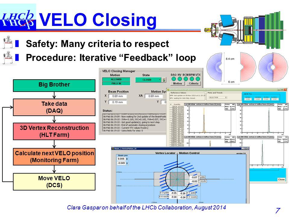 Clara Gaspar on behalf of the LHCb Collaboration, August 2014 VELO Closing 7 Take data (DAQ) 3D Vertex Reconstruction (HLT Farm) Calculate next VELO position (Monitoring Farm) Move VELO (DCS) Big Brother ❚ Safety: Many criteria to respect ❚ Procedure: Iterative Feedback loop