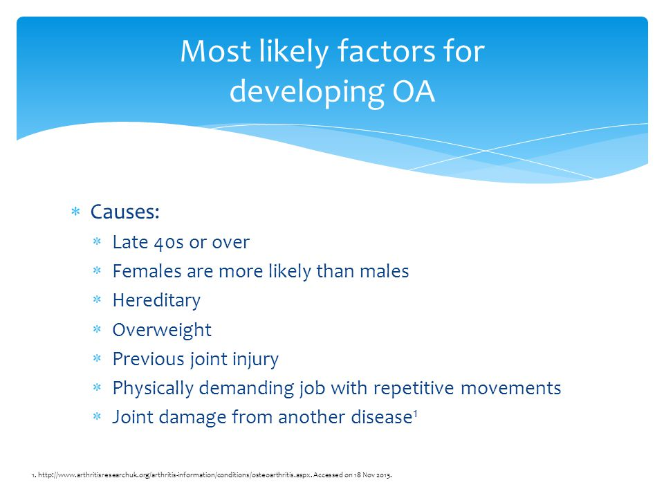  Causes:  Late 40s or over  Females are more likely than males  Hereditary  Overweight  Previous joint injury  Physically demanding job with repetitive movements  Joint damage from another disease 1 Most likely factors for developing OA 1.