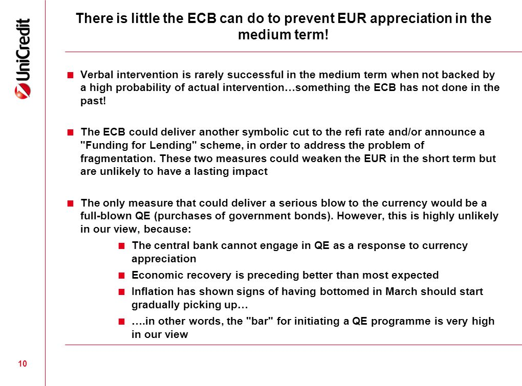 10 There is little the ECB can do to prevent EUR appreciation in the medium term.