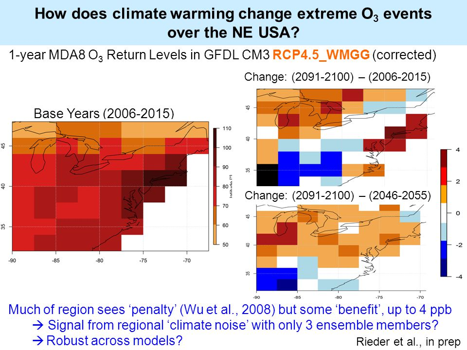 How does climate warming change extreme O 3 events over the NE USA.
