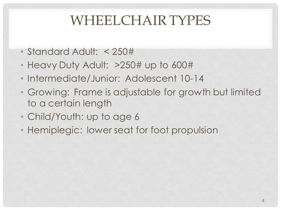 STANDARD WHEELCHAIR Basic Wheelchair Found in hospitals, nursing homes etc.