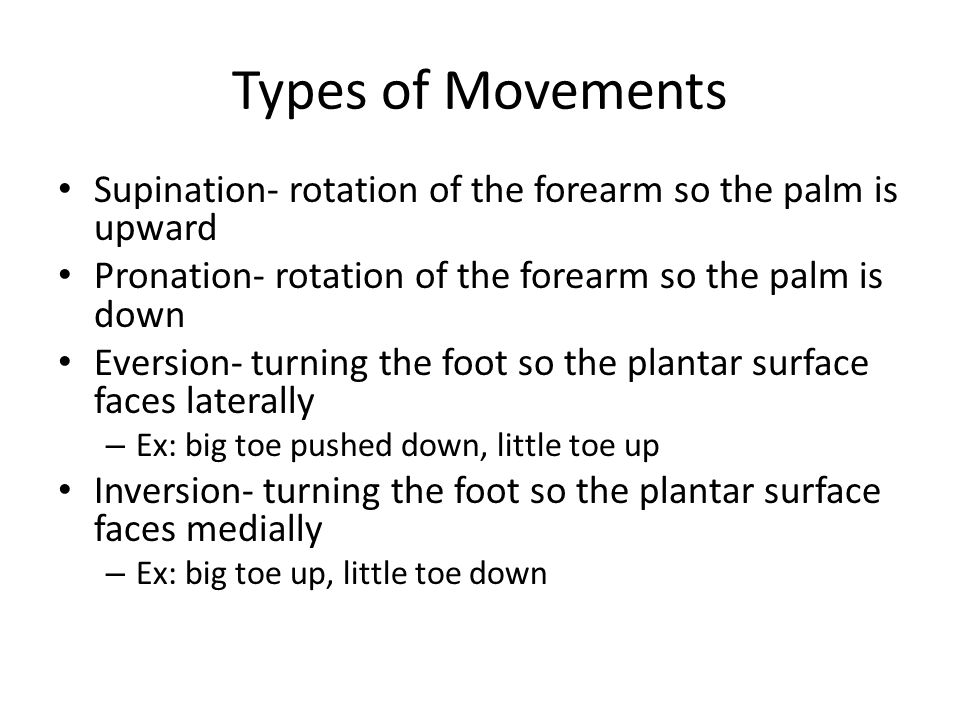 Types of Movements Supination- rotation of the forearm so the palm is upward Pronation- rotation of the forearm so the palm is down Eversion- turning the foot so the plantar surface faces laterally – Ex: big toe pushed down, little toe up Inversion- turning the foot so the plantar surface faces medially – Ex: big toe up, little toe down