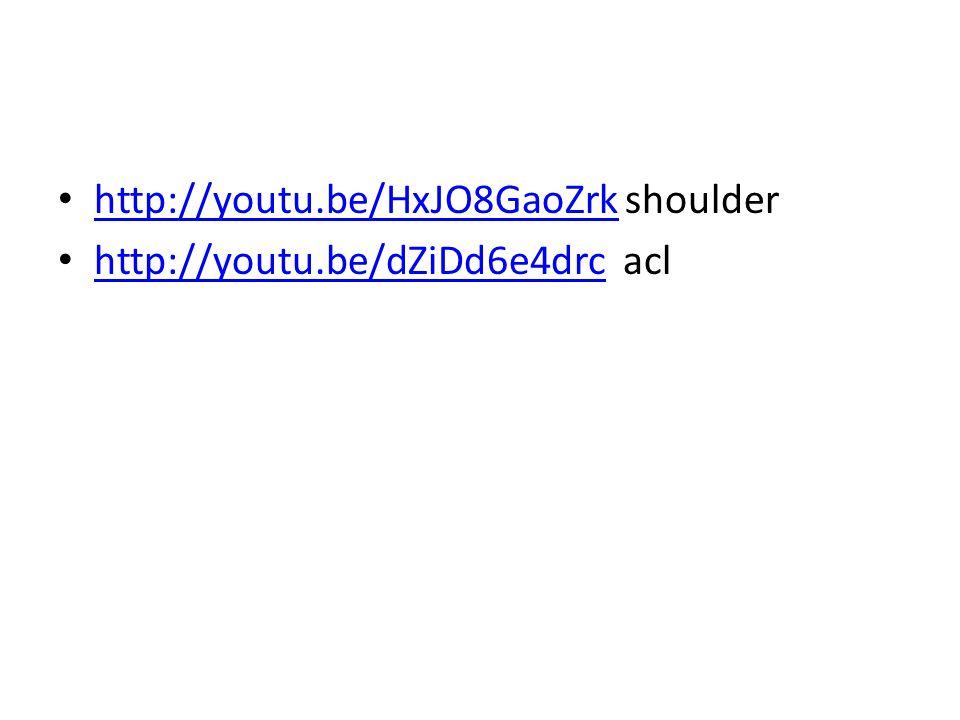 http://youtu.be/HxJO8GaoZrk shoulder http://youtu.be/HxJO8GaoZrk http://youtu.be/dZiDd6e4drc acl http://youtu.be/dZiDd6e4drc