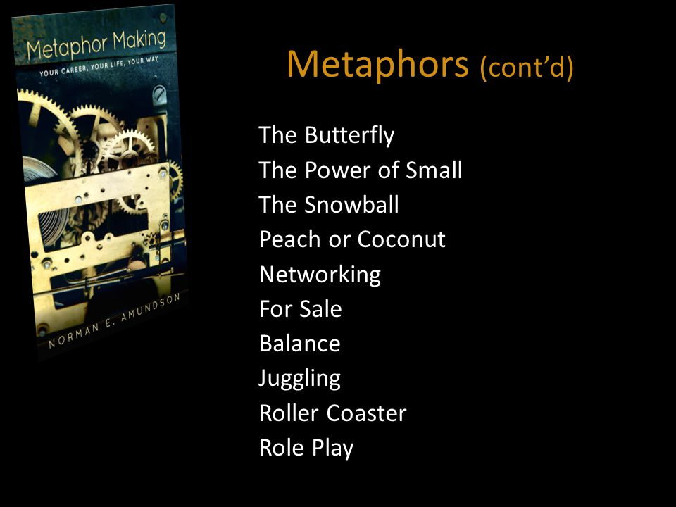 Metaphors (cont'd) The Butterfly The Power of Small The Snowball Peach or Coconut Networking For Sale Balance Juggling Roller Coaster Role Play
