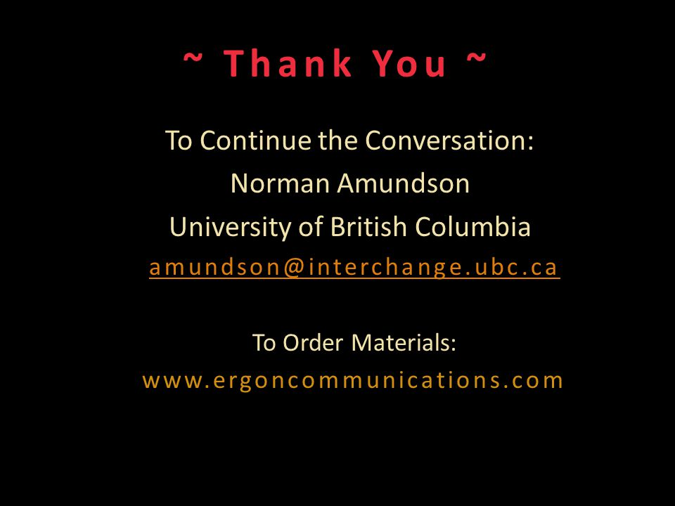 ~ Thank You ~ To Continue the Conversation: Norman Amundson University of British Columbia amundson@interchange.ubc.ca To Order Materials: www.ergonco
