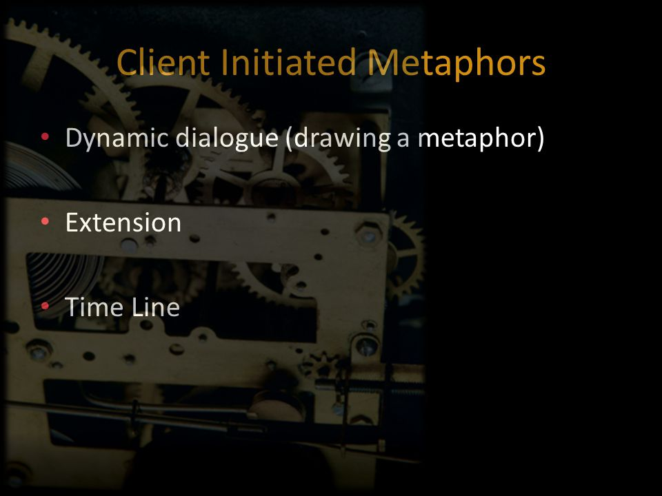 Client Initiated Metaphors Dynamic dialogue (drawing a metaphor) Extension Time Line