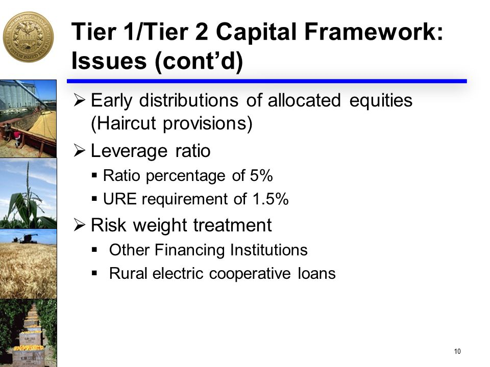 Tier 1/Tier 2 Capital Framework: Issues (cont'd)  Early distributions of allocated equities (Haircut provisions)  Leverage ratio  Ratio percentage