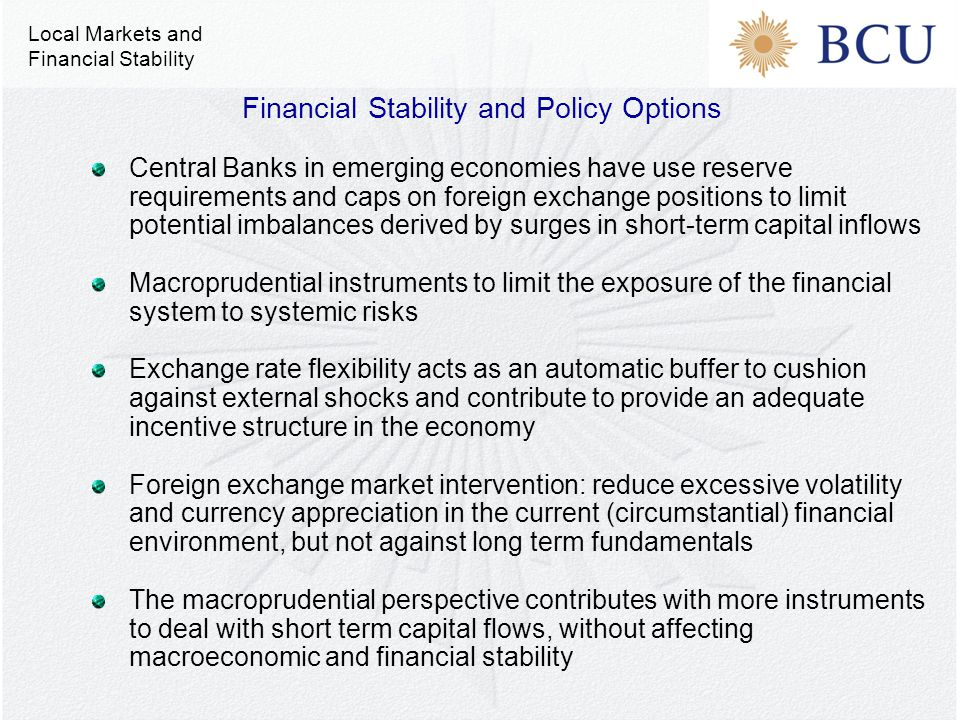 Central Banks in emerging economies have use reserve requirements and caps on foreign exchange positions to limit potential imbalances derived by surges in short-term capital inflows Macroprudential instruments to limit the exposure of the financial system to systemic risks Exchange rate flexibility acts as an automatic buffer to cushion against external shocks and contribute to provide an adequate incentive structure in the economy Foreign exchange market intervention: reduce excessive volatility and currency appreciation in the current (circumstantial) financial environment, but not against long term fundamentals The macroprudential perspective contributes with more instruments to deal with short term capital flows, without affecting macroeconomic and financial stability Financial Stability and Policy Options Local Markets and Financial Stability