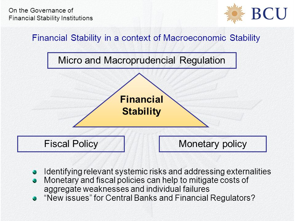 Financial Stability in a context of Macroeconomic Stability Micro and Macroprudencial Regulation Monetary policyFiscal Policy Financial Stability Iden