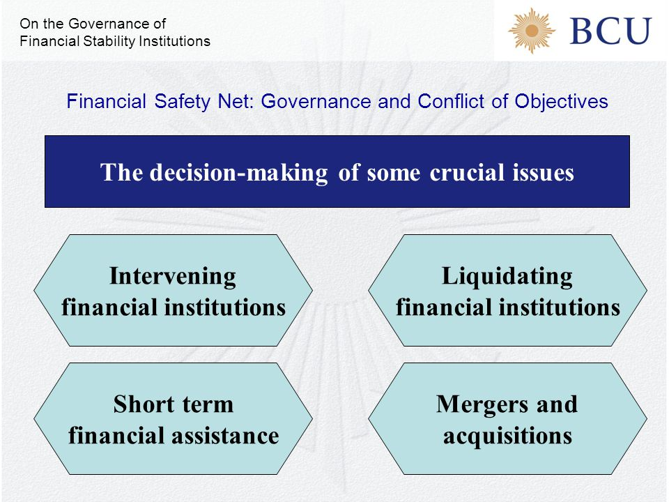 The decision-making of some crucial issues Liquidating financial institutions Mergers and acquisitions Short term financial assistance Intervening financial institutions Financial Safety Net: Governance and Conflict of Objectives On the Governance of Financial Stability Institutions