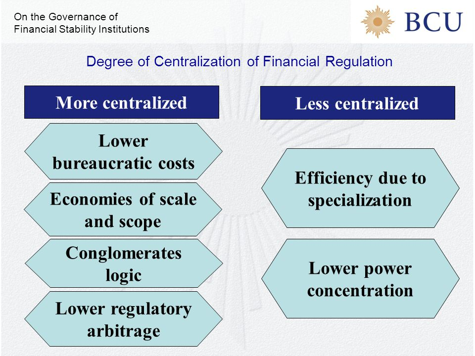More centralized Efficiency due to specialization Lower power concentration Economies of scale and scope Lower bureaucratic costs Less centralized Con