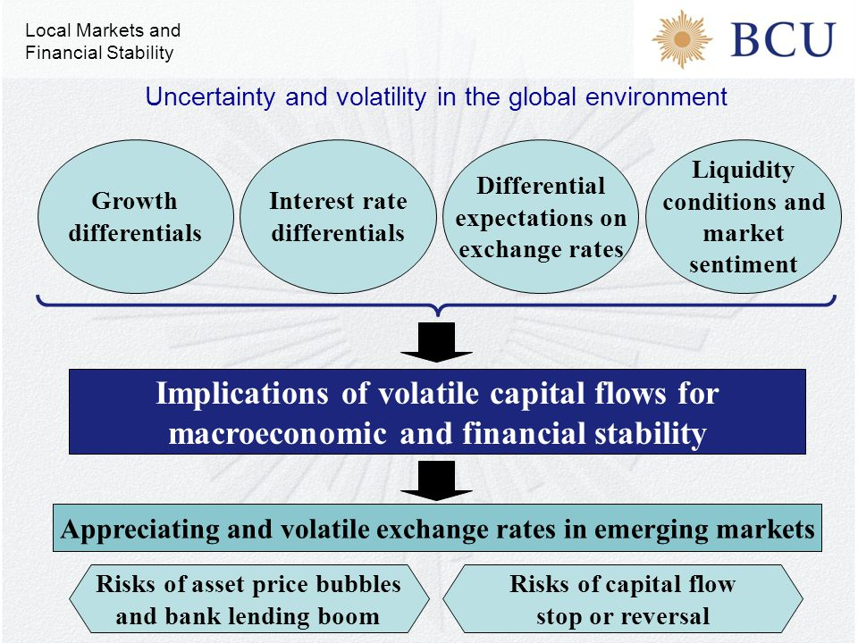 Implications of volatile capital flows for macroeconomic and financial stability Growth differentials Appreciating and volatile exchange rates in emer