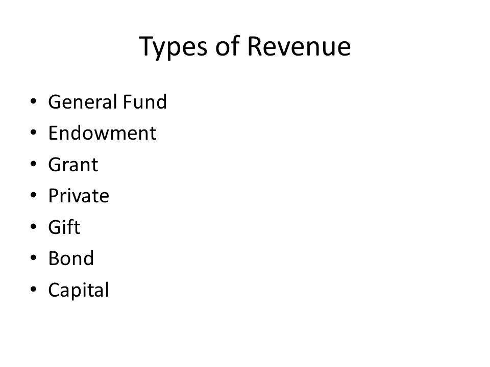Types of Revenue General Fund Endowment Grant Private Gift Bond Capital