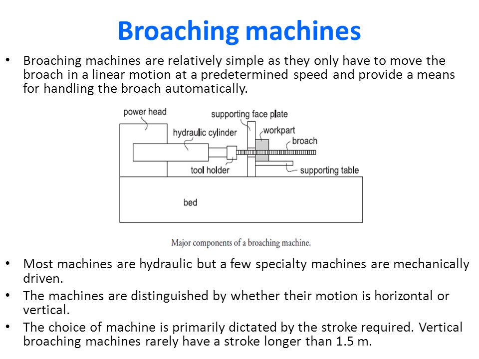 Broaching machines Broaching machines are relatively simple as they only have to move the broach in a linear motion at a predetermined speed and provi