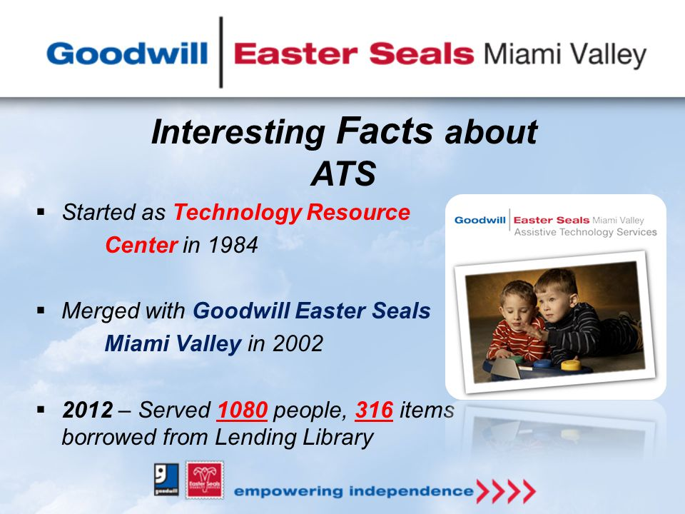  Started as Technology Resource Center in 1984  Merged with Goodwill Easter Seals Miami Valley in 2002  2012 – Served 1080 people, 316 items borrowed from Lending Library Interesting Facts about ATS