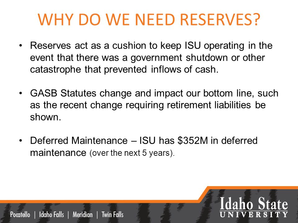 WHY DO WE NEED RESERVES.