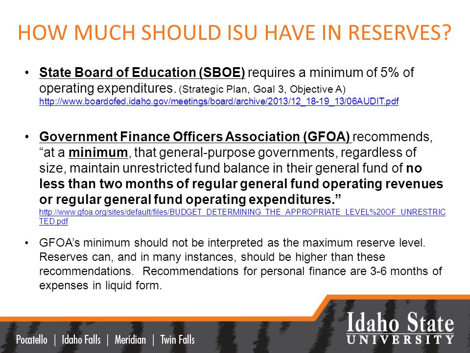 HOW MUCH SHOULD ISU HAVE IN RESERVES.