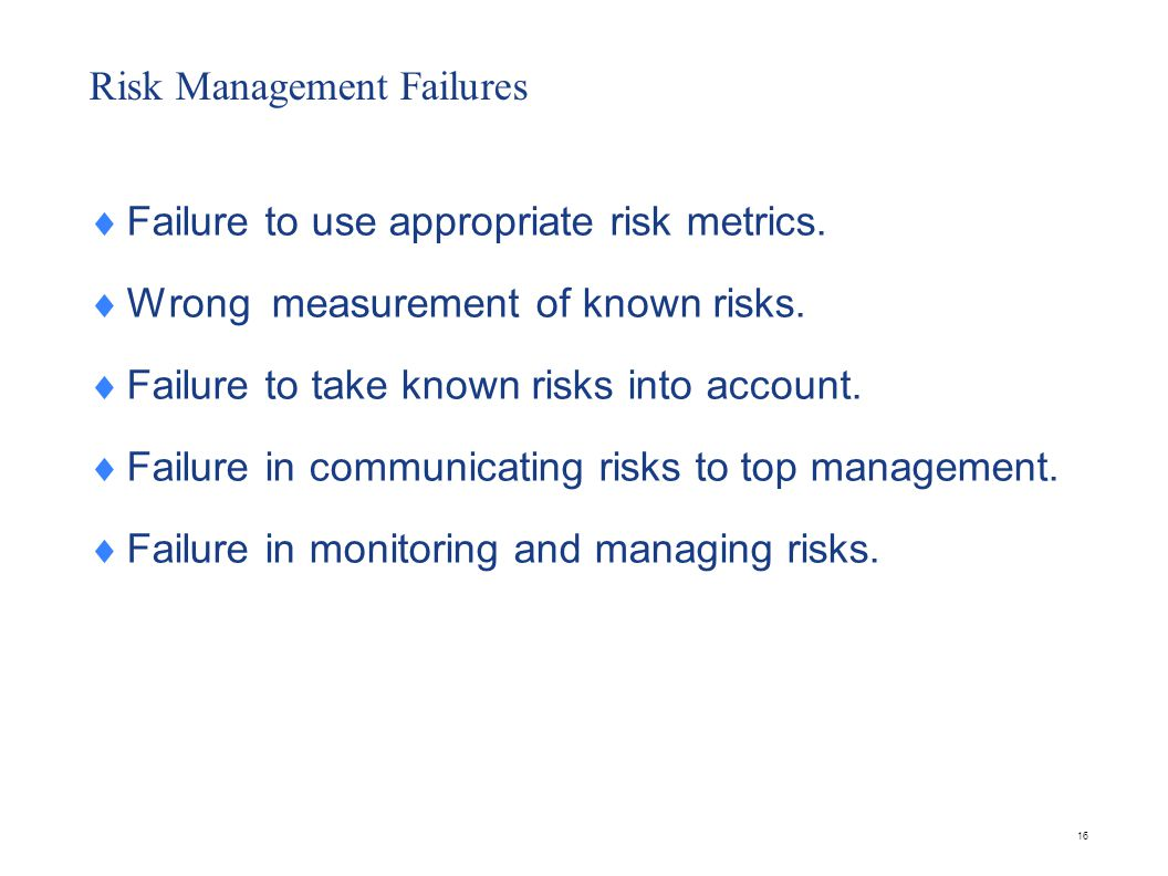 Risk Management Failures  Failure to use appropriate risk metrics.