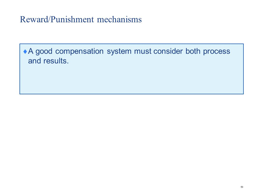 59 Reward/Punishment mechanisms  A good compensation system must consider both process and results.