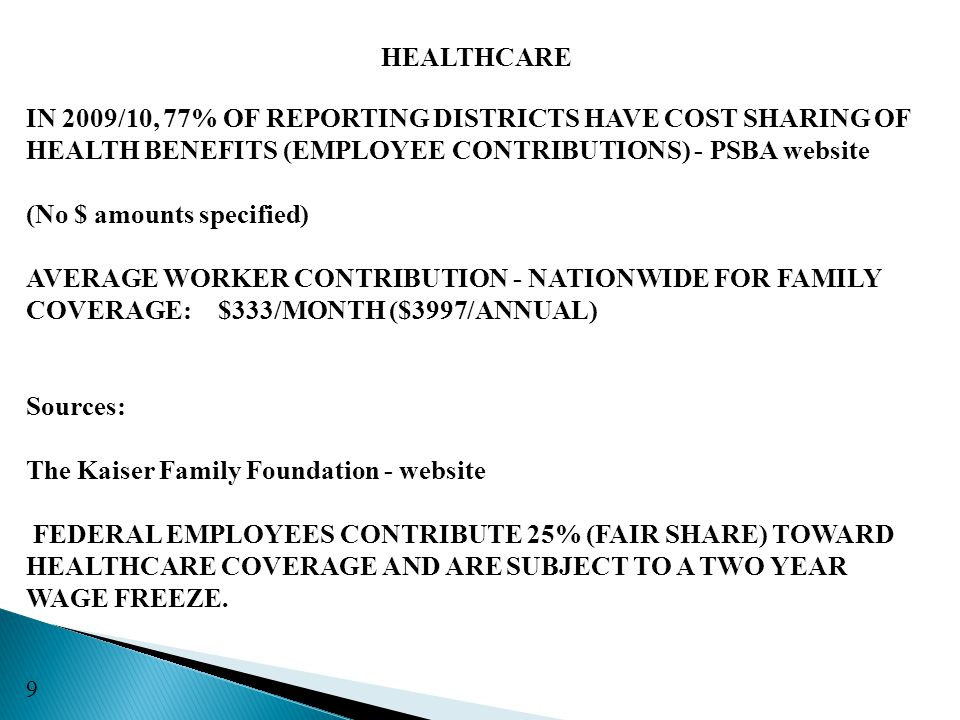 HEALTHCARE IN 2009/10, 77% OF REPORTING DISTRICTS HAVE COST SHARING OF HEALTH BENEFITS (EMPLOYEE CONTRIBUTIONS) - PSBA website (No $ amounts specified) AVERAGE WORKER CONTRIBUTION - NATIONWIDE FOR FAMILY COVERAGE:$333/MONTH ($3997/ANNUAL) Sources: The Kaiser Family Foundation - website FEDERAL EMPLOYEES CONTRIBUTE 25% (FAIR SHARE) TOWARD HEALTHCARE COVERAGE AND ARE SUBJECT TO A TWO YEAR WAGE FREEZE.