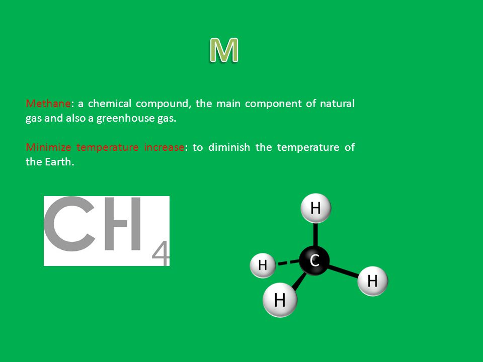 Methane: a chemical compound, the main component of natural gas and also a greenhouse gas.