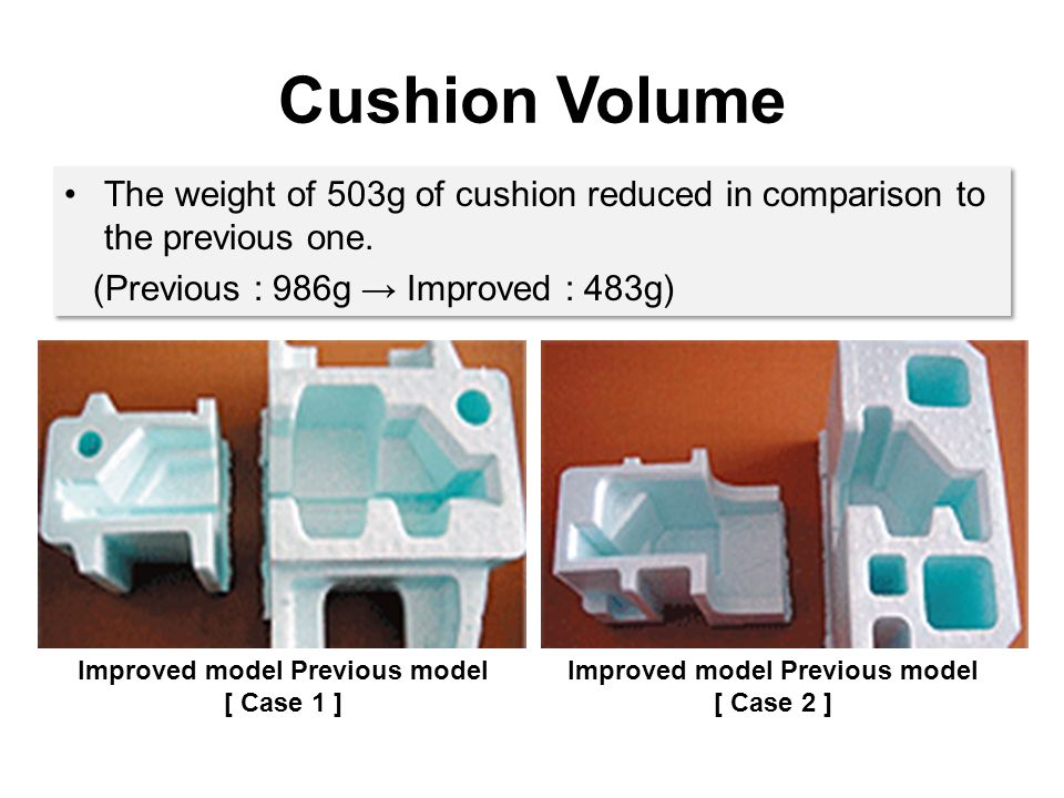 Cushion Volume The weight of 503g of cushion reduced in comparison to the previous one.