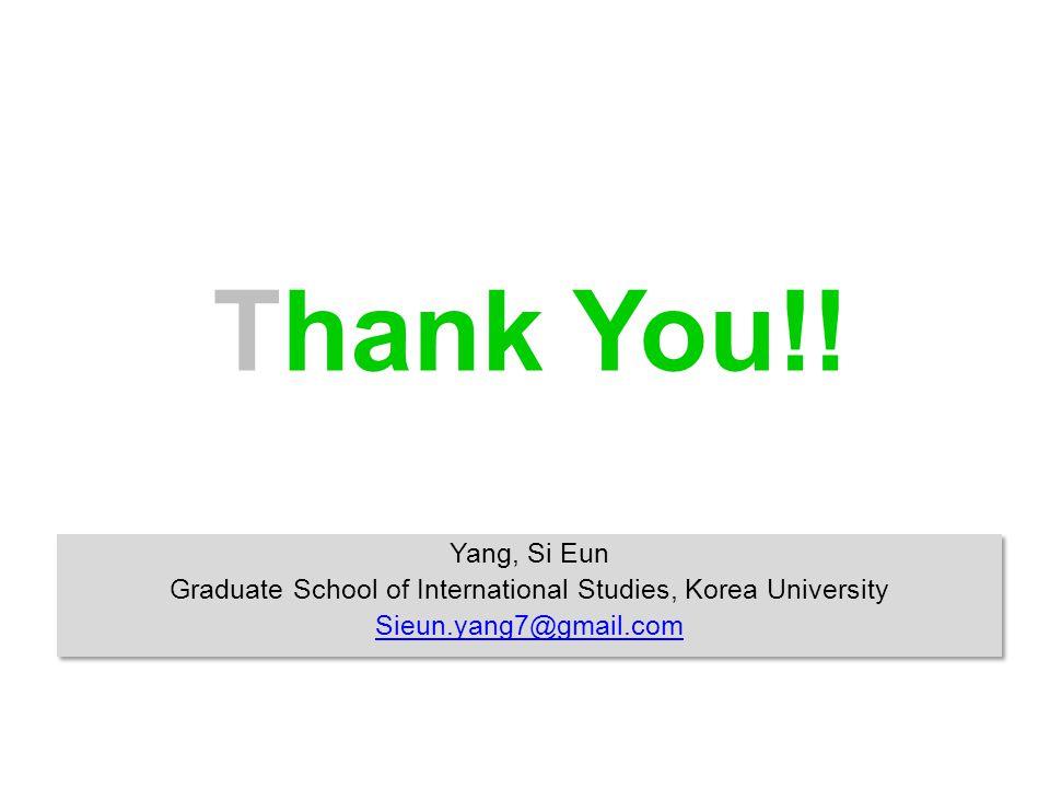 Thank You!! Yang, Si Eun Graduate School of International Studies, Korea University Sieun.yang7@gmail.com Yang, Si Eun Graduate School of Internationa