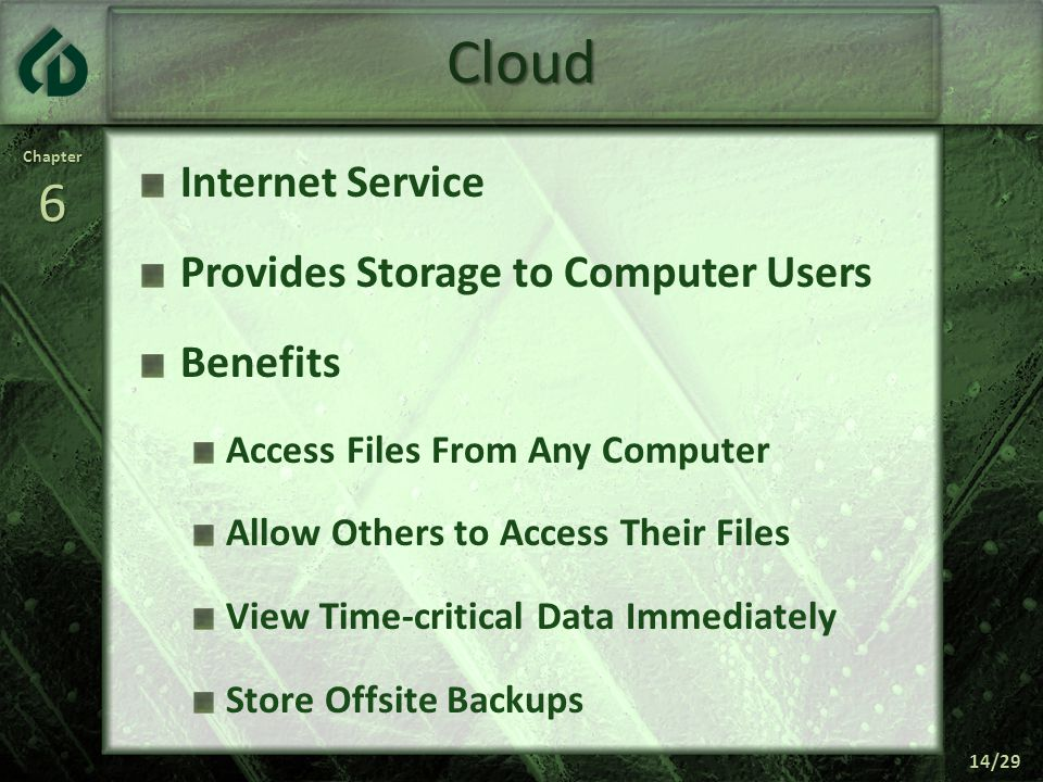 Chapter6 14/29 Cloud Internet Service Provides Storage to Computer Users Benefits Access Files From Any Computer Allow Others to Access Their Files View Time-critical Data Immediately Store Offsite Backups