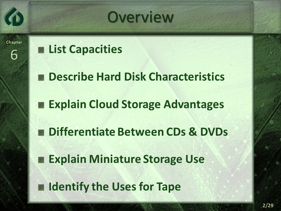 Chapter6 3/29 Storage Holds Data, Instructions, & Information For Future Use