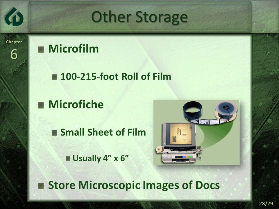 Chapter6 28/29 Other Storage Microfilm 100-215-foot Roll of Film Microfiche Small Sheet of Film Usually 4 x 6 Store Microscopic Images of Docs