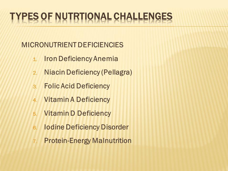 MICRONUTRIENT DEFICIENCIES 1. Iron Deficiency Anemia 2.
