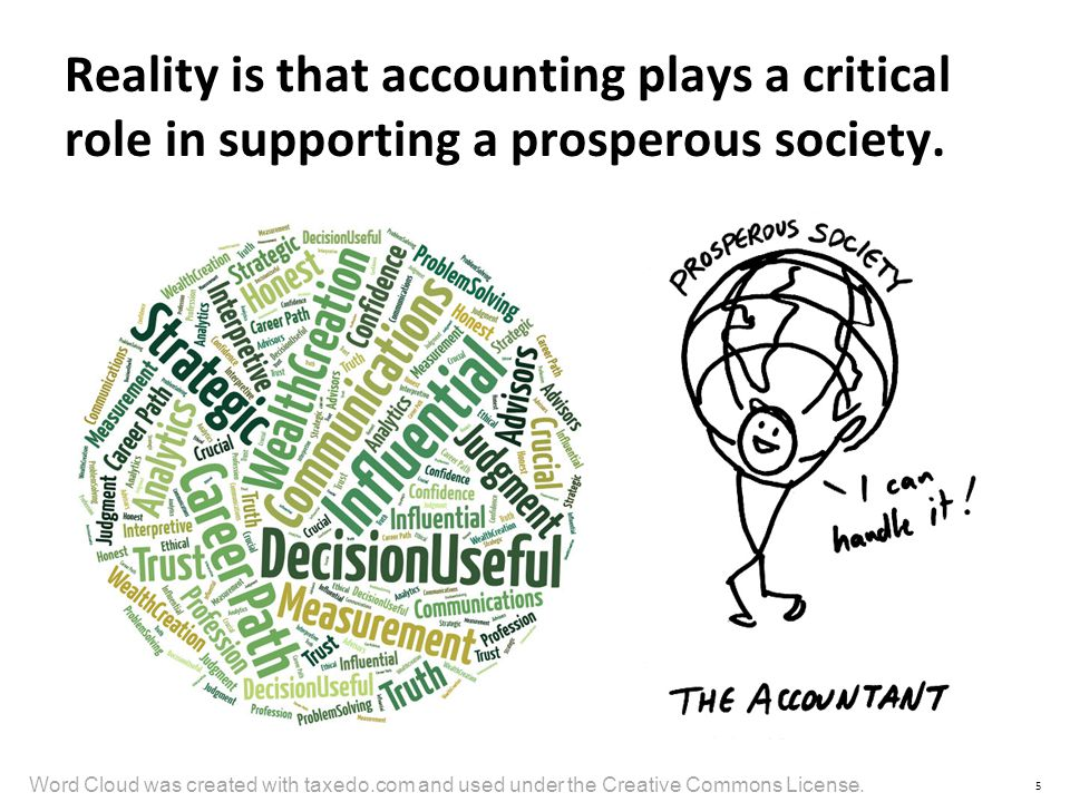 Reality is that accounting plays a critical role in supporting a prosperous society.