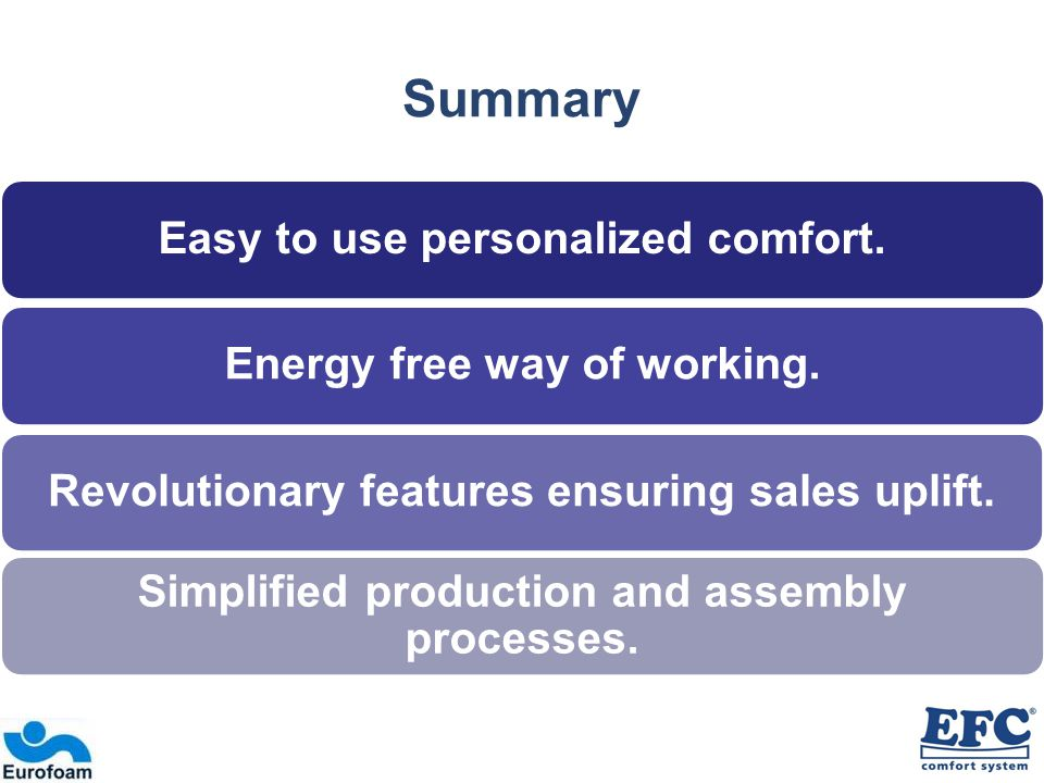 Summary Easy to use personalized comfort.Energy free way of working.Revolutionary features ensuring sales uplift.