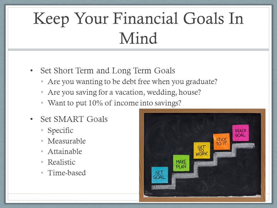 Keep Your Financial Goals In Mind Set Short Term and Long Term Goals Are you wanting to be debt free when you graduate.