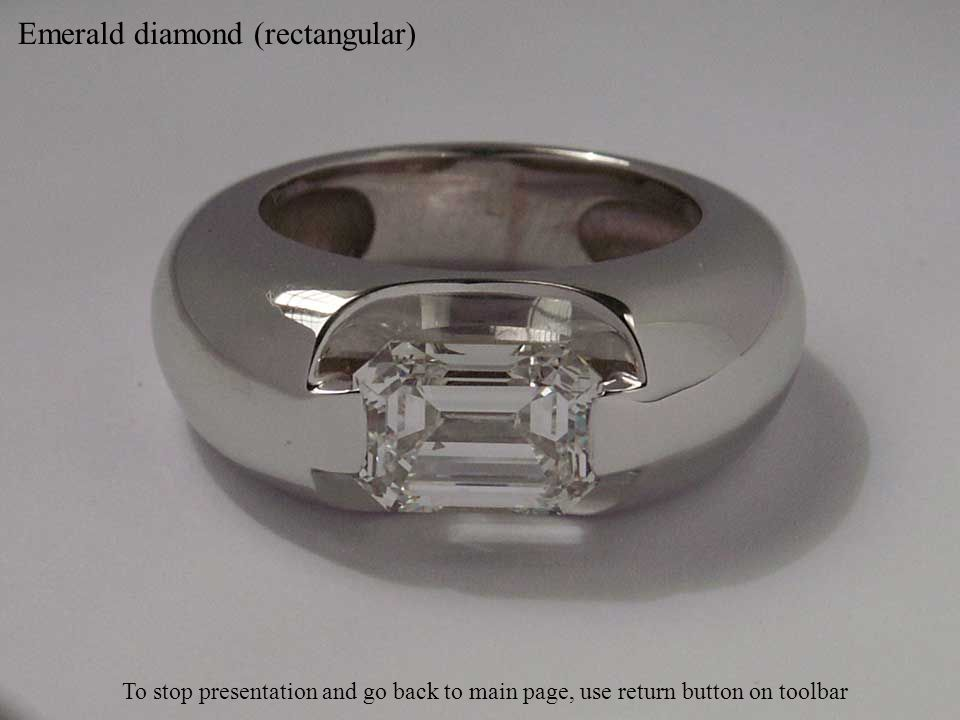 Emerald diamond (rectangular) To stop presentation and go back to main page, use return button on toolbar