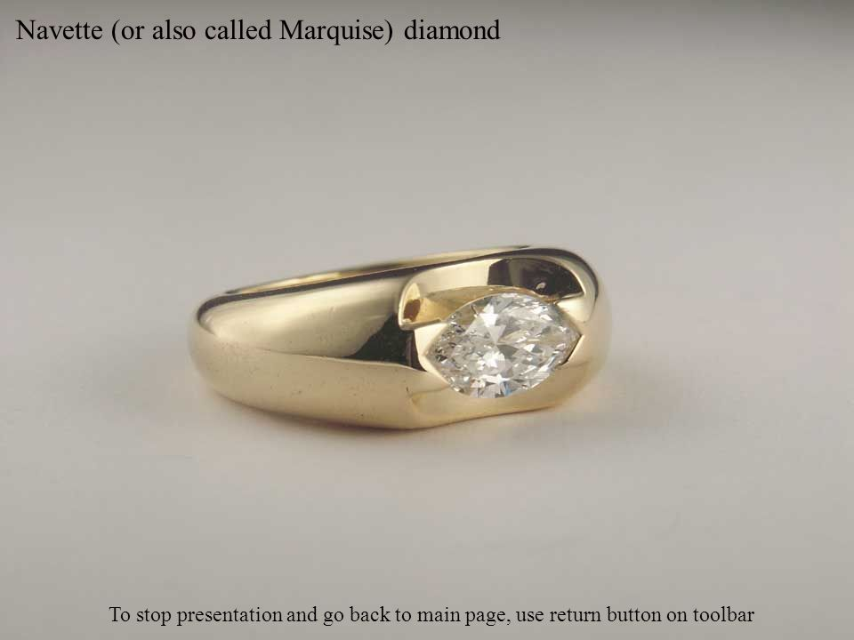 Navette (or also called Marquise) diamond To stop presentation and go back to main page, use return button on toolbar