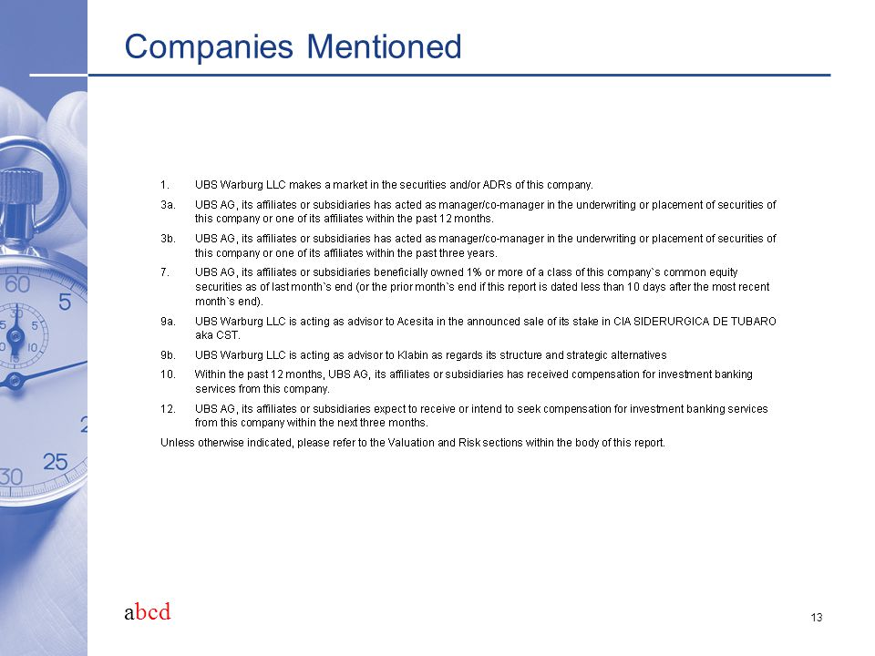 abcd 13 Companies Mentioned