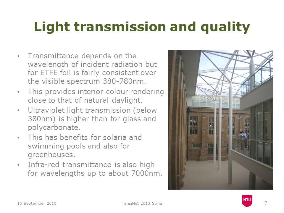 Measured transmittance ETFE 200μm samples 16 September 2010TensiNet 2010 Sofia 8