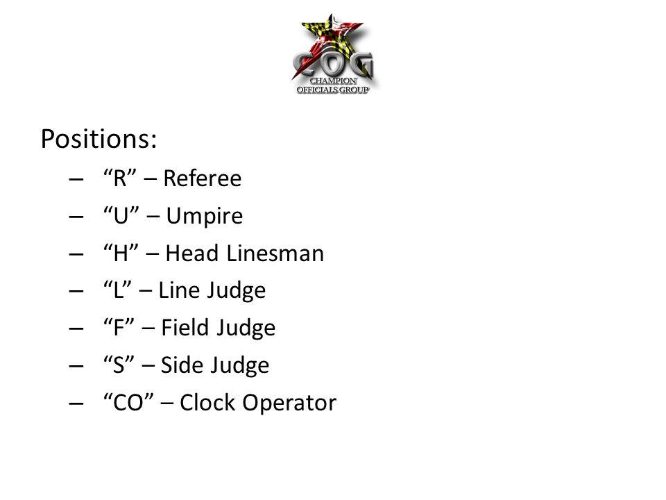Positions: – R – Referee – U – Umpire – H – Head Linesman – L – Line Judge – F – Field Judge – S – Side Judge – CO – Clock Operator