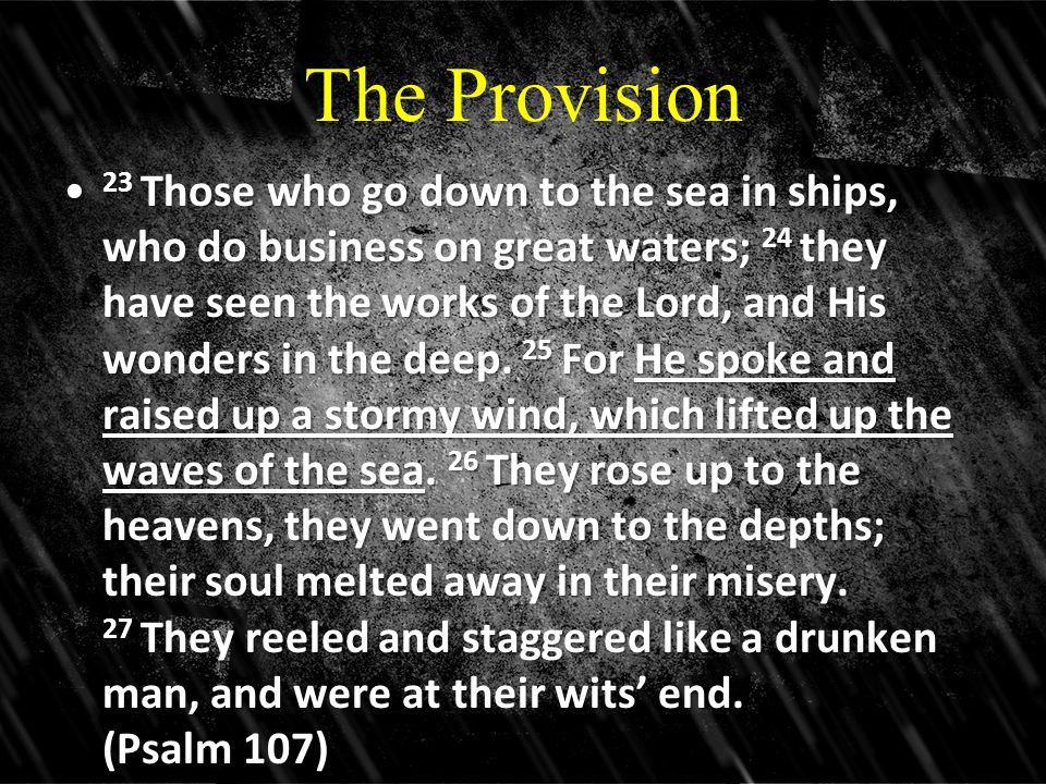 The Provision 23 Those who go down to the sea in ships, who do business on great waters; 24 they have seen the works of the Lord, and His wonders in the deep.