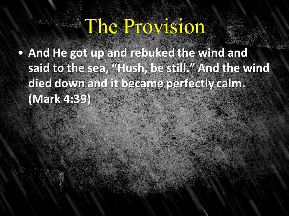 The Provision And He got up and rebuked the wind and said to the sea, Hush, be still. And the wind died down and it became perfectly calm.