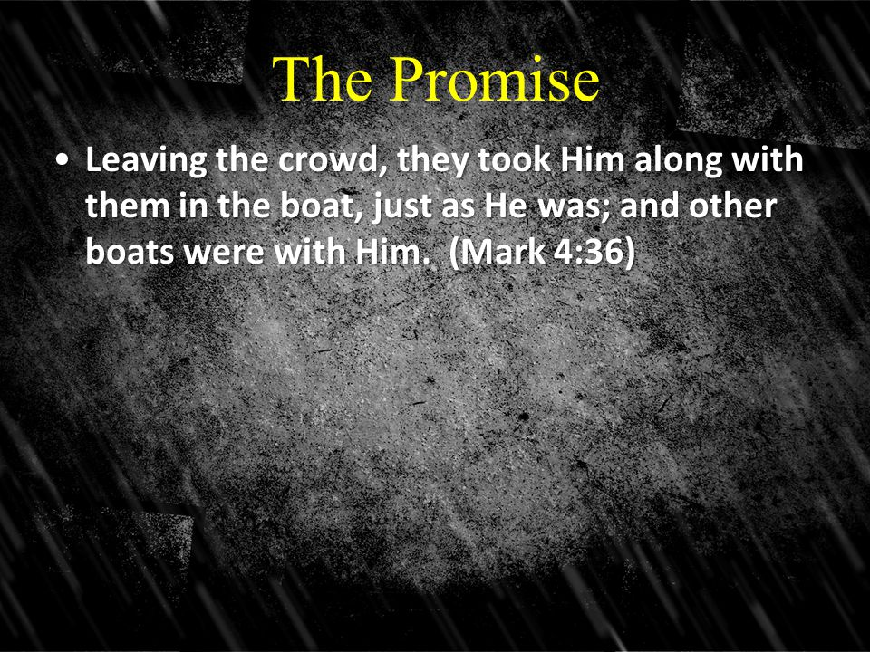 The Promise Leaving the crowd, they took Him along with them in the boat, just as He was; and other boats were with Him.