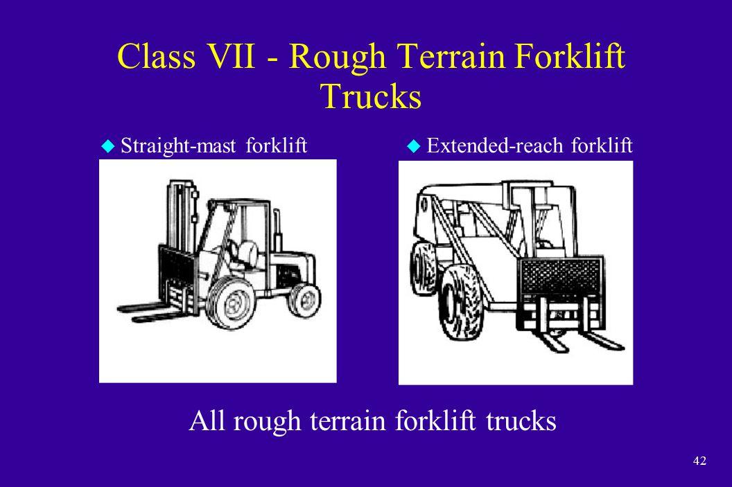 42 Class VII - Rough Terrain Forklift Trucks u Straight-mast forklift u Extended-reach forklift All rough terrain forklift trucks