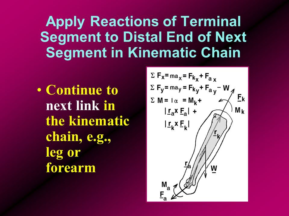 Apply Reactions of Terminal Segment to Distal End of Next Segment in Kinematic Chain Continue to next link in the kinematic chain, e.g., leg or forearm
