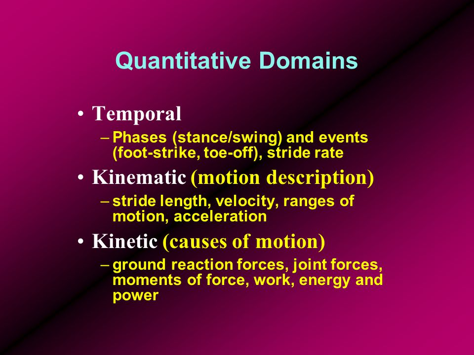 Quantitative Domains Temporal –Phases (stance/swing) and events (foot-strike, toe-off), stride rate Kinematic (motion description) –stride length, velocity, ranges of motion, acceleration Kinetic (causes of motion) –ground reaction forces, joint forces, moments of force, work, energy and power