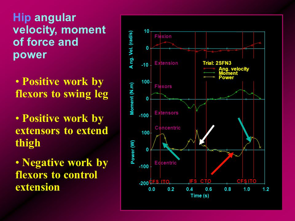 Hip angular velocity, moment of force and power 0.00.20.40.60.81.01.2 Time (s) -200 -100 0 100 -100 0 100 -10 0 10 Power (W) Moment (N.m) A ng. Vel. (