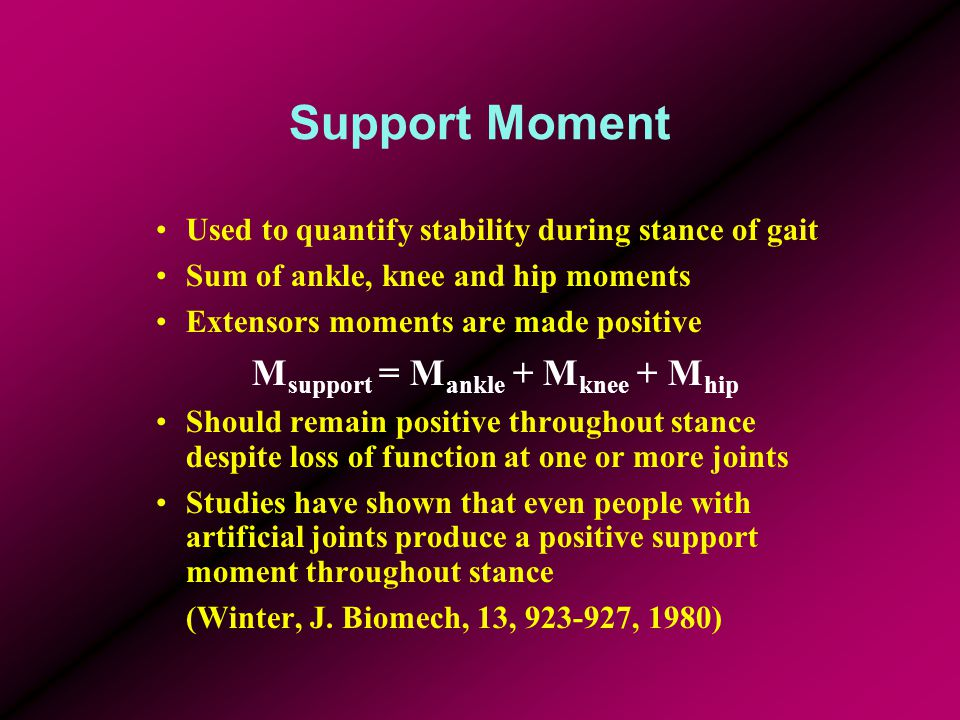 Support Moment Used to quantify stability during stance of gait Sum of ankle, knee and hip moments Extensors moments are made positive M support = M a