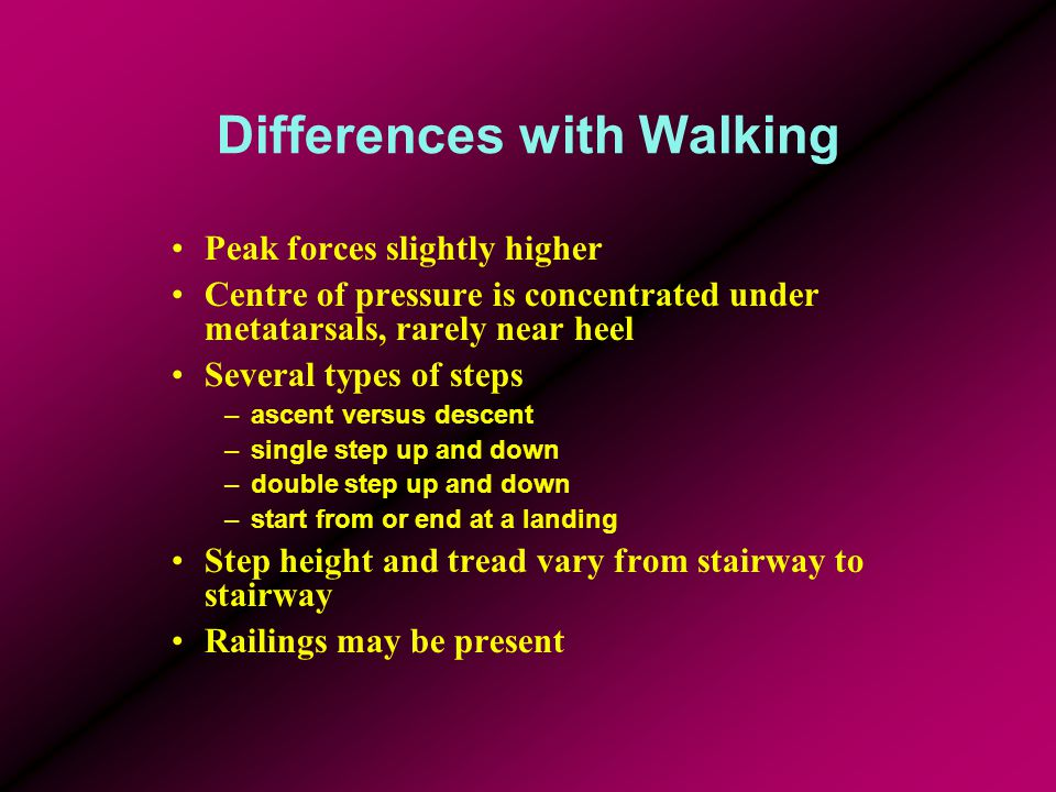 Differences with Walking Peak forces slightly higher Centre of pressure is concentrated under metatarsals, rarely near heel Several types of steps –as
