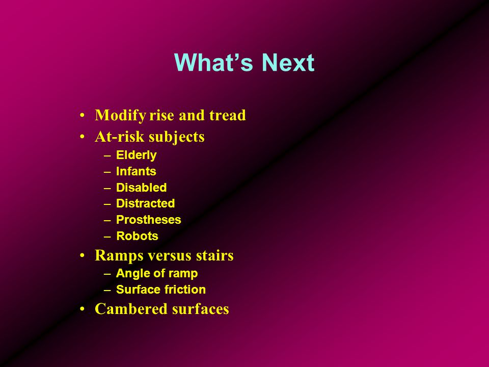 What's Next Modify rise and tread At-risk subjects –Elderly –Infants –Disabled –Distracted –Prostheses –Robots Ramps versus stairs –Angle of ramp –Sur